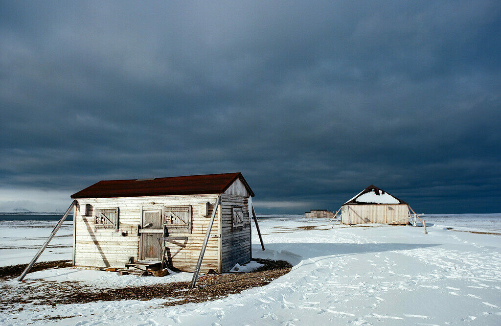 Abandoned research stations in Svalbard.  These old shacks at the Kinnvika Polar Research Station have locks to protect against polar bears.