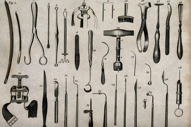 An engraving of surgical instruments.