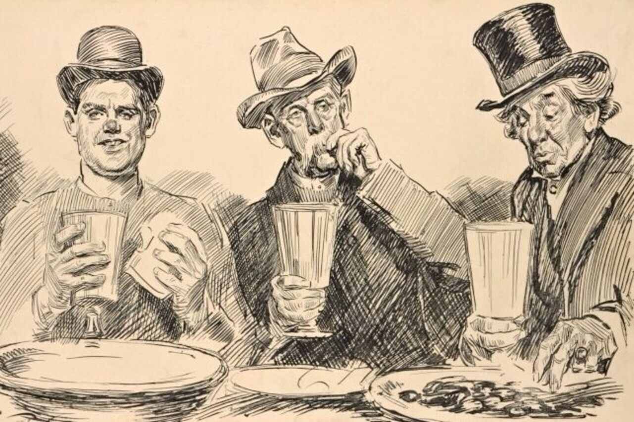 Three men feast on free lunch in this drawing by Charles Dana Gibson.