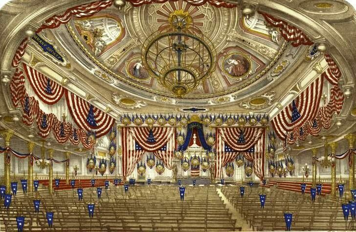 Interior view of Tammany Hall decorated for the National Convention July 4th, 1868.
