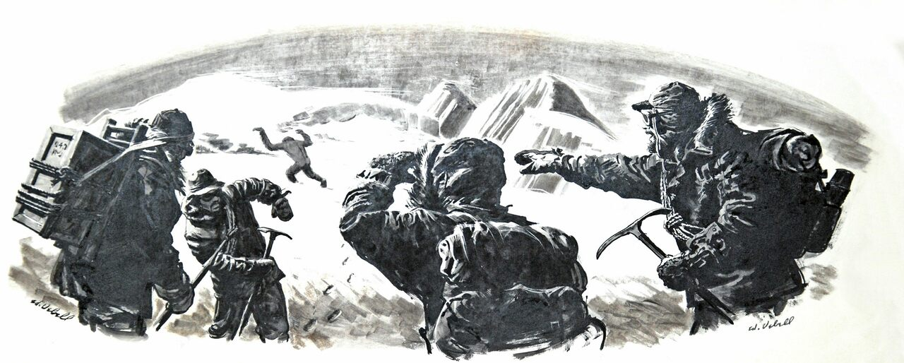 A 1950s-era drawing of mountain climbers in the Himalayas spotting a Yeti in the distance.