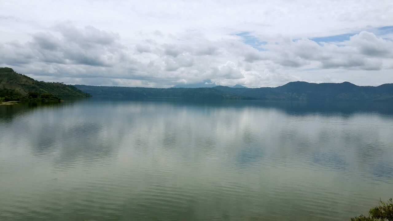 Lake Ilopango, under appropriately cloudy skies.