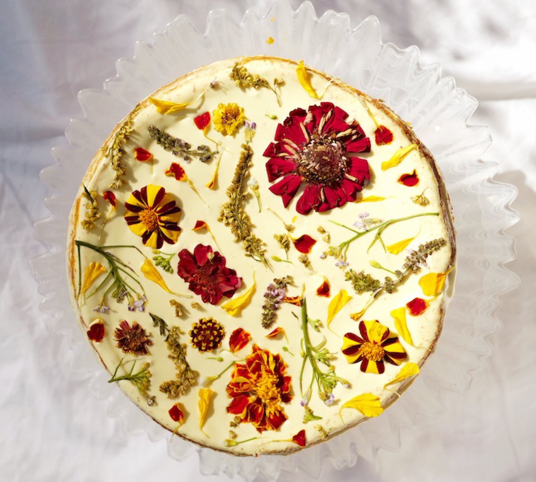 Flowers add some sunny color to baked goods and drinks.