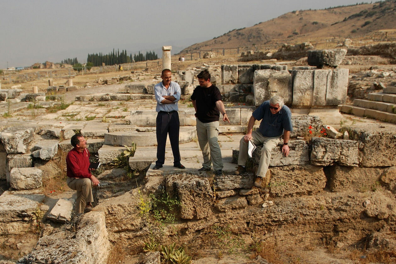 John Hale, local resident Fettah Anli, Matthias Zeithoffler, Jelle de Boer (left to right) at the site of the Plutonium.