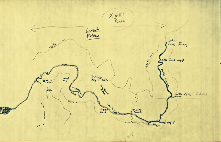When writing <em>Grand Canyon Odyssey</em>, Leibold drew a map of the canyon and river, to keep track of his protagonist's progress down the canyon. The map of the various storylines is below.