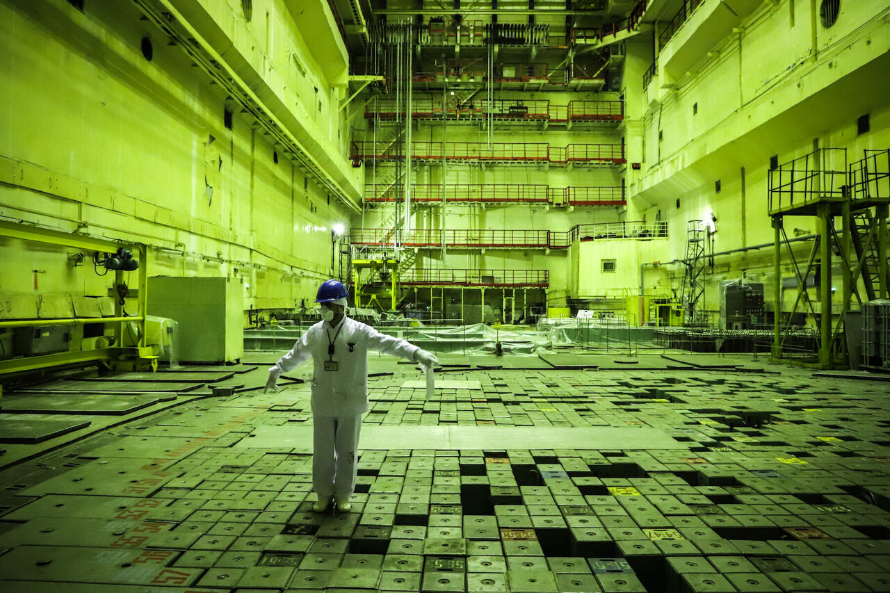 A power plant guide welcomes visitors into the reactor hall.