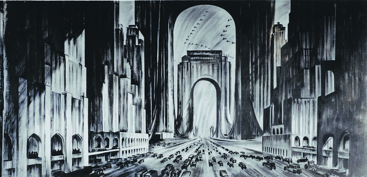 The view of Raymond Hood's proposed skyscraper bridge, from 1925.