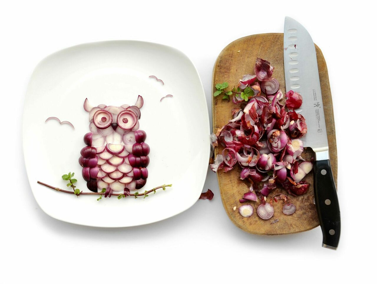 "Creating this ""Owlnion"" from shallots and mint leaves brought the artist to tears—the result of chopping raw onion."
