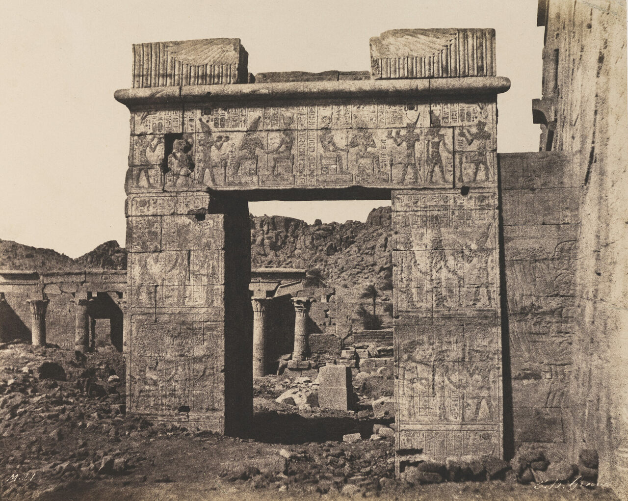 Greene photographed the temple complex on the island of Philae in 1854. More than a century later, it was moved to higher ground when dams led to flooding.