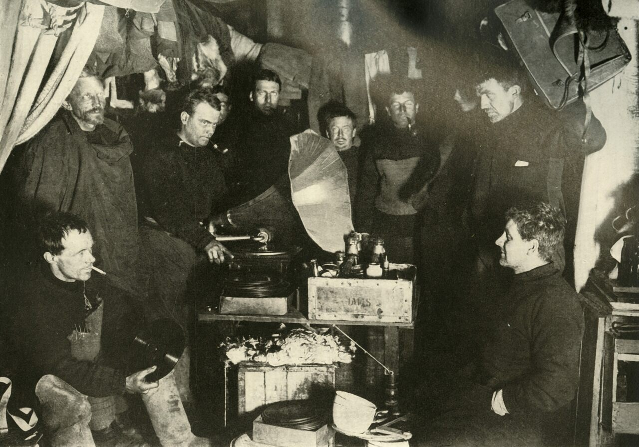 Members of Ernest Shackleton's crew grooved to a gramophone.