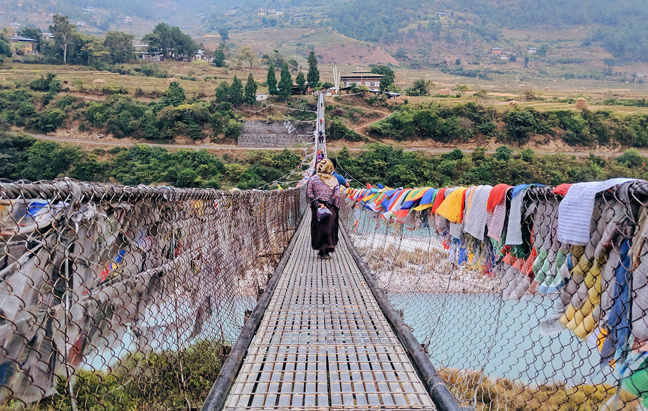 On the Punakha Suspension Bridge in Bhutan.