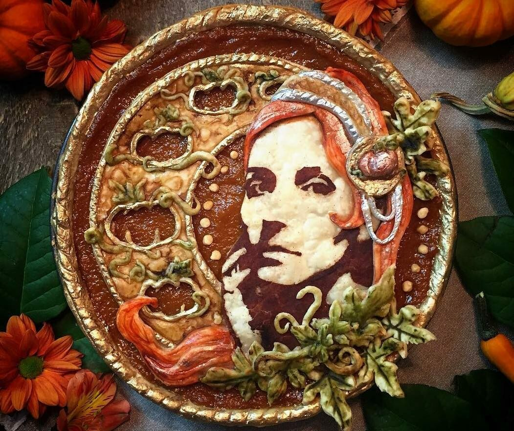 "A ""self-pietrait"" of pie artist, Jessica Leigh Clark-Bojin."
