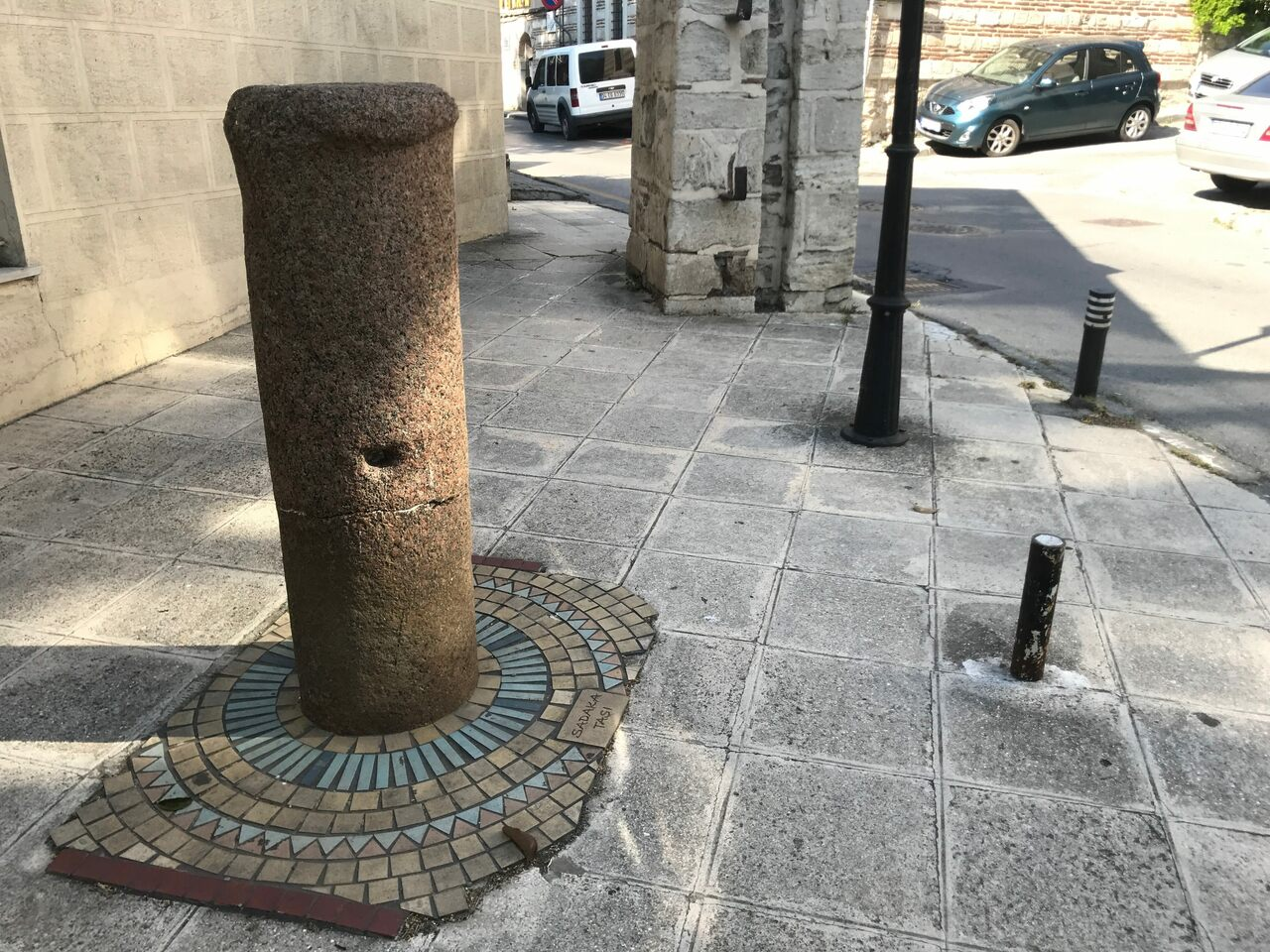 One of the best preserved charity stones in Istanbul, outside the İmrahor Mosque in the Üsküdar district.