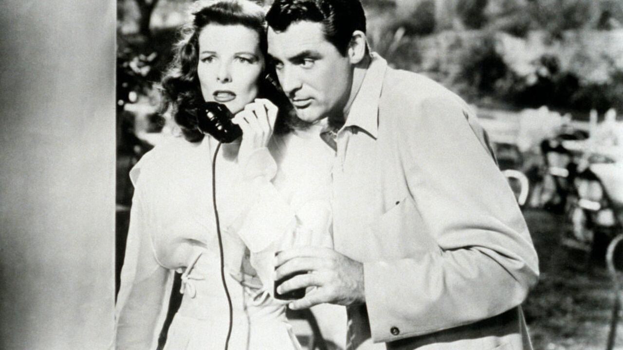 Katharine Hepburn and Cary Grant in the film <em>The Philadelphia Story</em>.