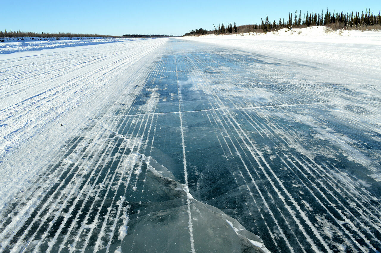 The 73-mile-long Inuvik-Aklavik Ice Road forms each year when the Mackenzie River freezes over.