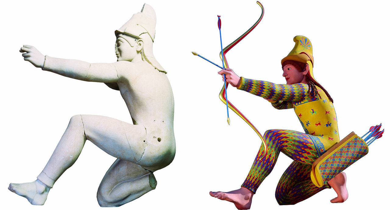 Left, the Trojan archer from the 5th-century BC Aphaia Temple in Greece, and right, a reconstruction of how it would have looked.