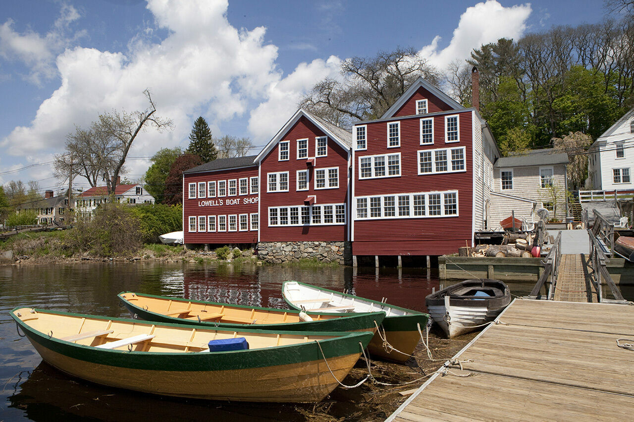 Lowell's Boat Shop in Amesbury, Massachusetts, has been building dories like these by hand since 1793.