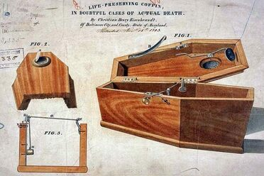 """Life preserving coffin in doubtful cases of actual dead,"" a safety-coffin model by Christian Eisenbrandt."
