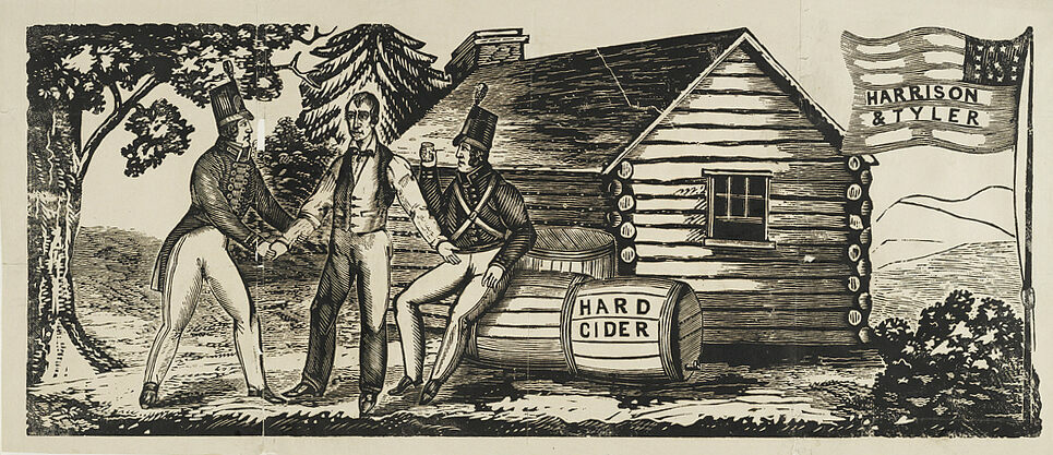 A woodcut used for William Harrison's campaign. In front of a log cabin, Harrison welcomes a soldier, inviting him to rest and drink hard cider.