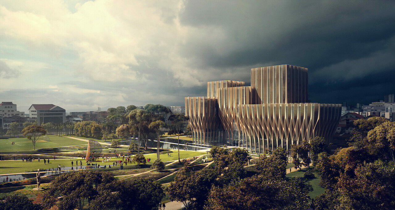 An artist's rendering of the Sleuk Rith Institute.