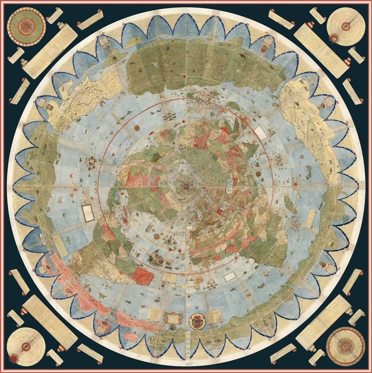 A vast 430 year old world map full of places and creatures real the projection more than nine feet in diameter is made up of 60 smaller gumiabroncs Choice Image