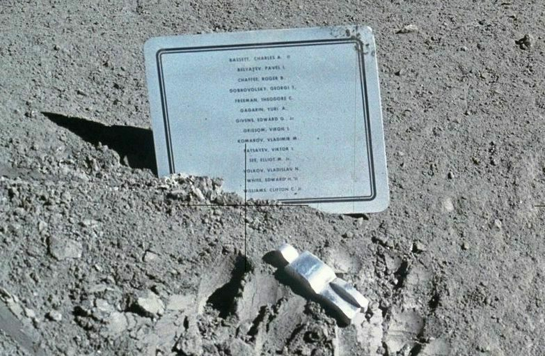 """Fallen Astronaut"" alongside the commemorative plaque."