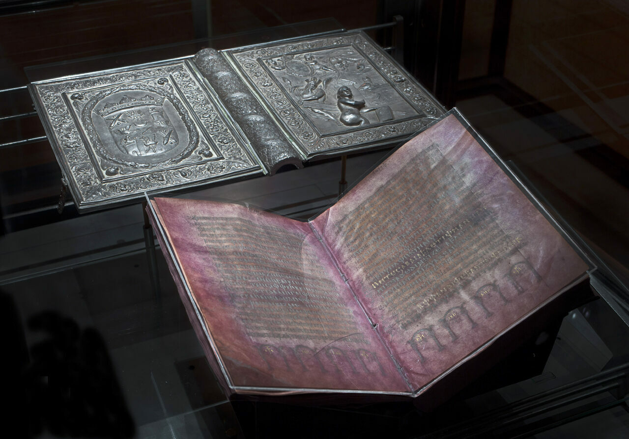 The oft-coveted Codex Argenteus, aka the Silver Bible, is now ensconced behind bulletproof glass at Sweden's Uppsala University.
