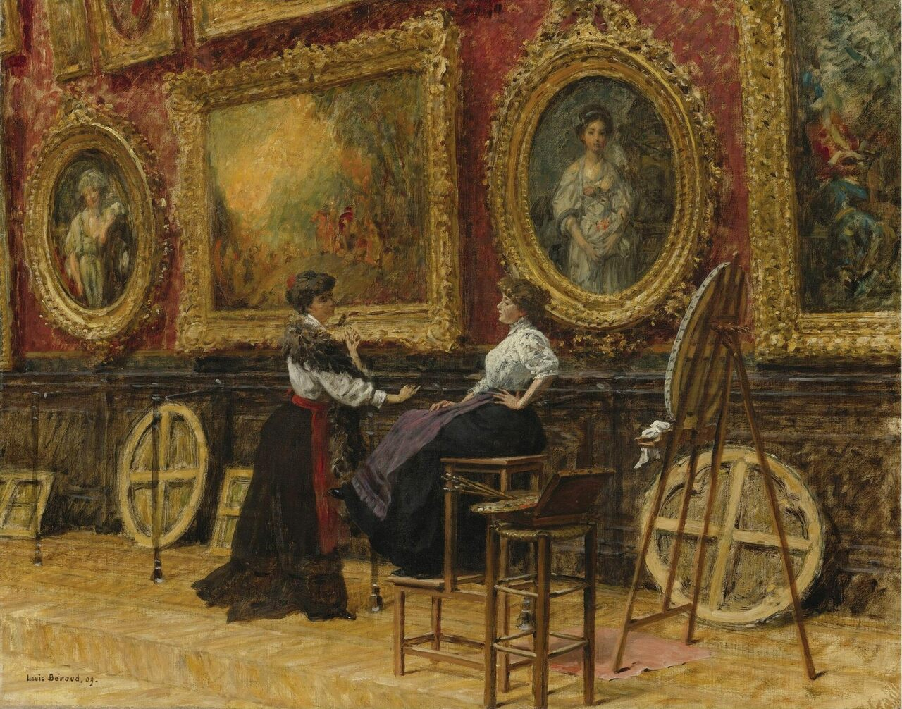 Painting by Louis Béroud depicting copyists in the Louvre.