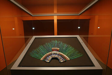The headdress on display at the Museum of Ethnology, Vienna.