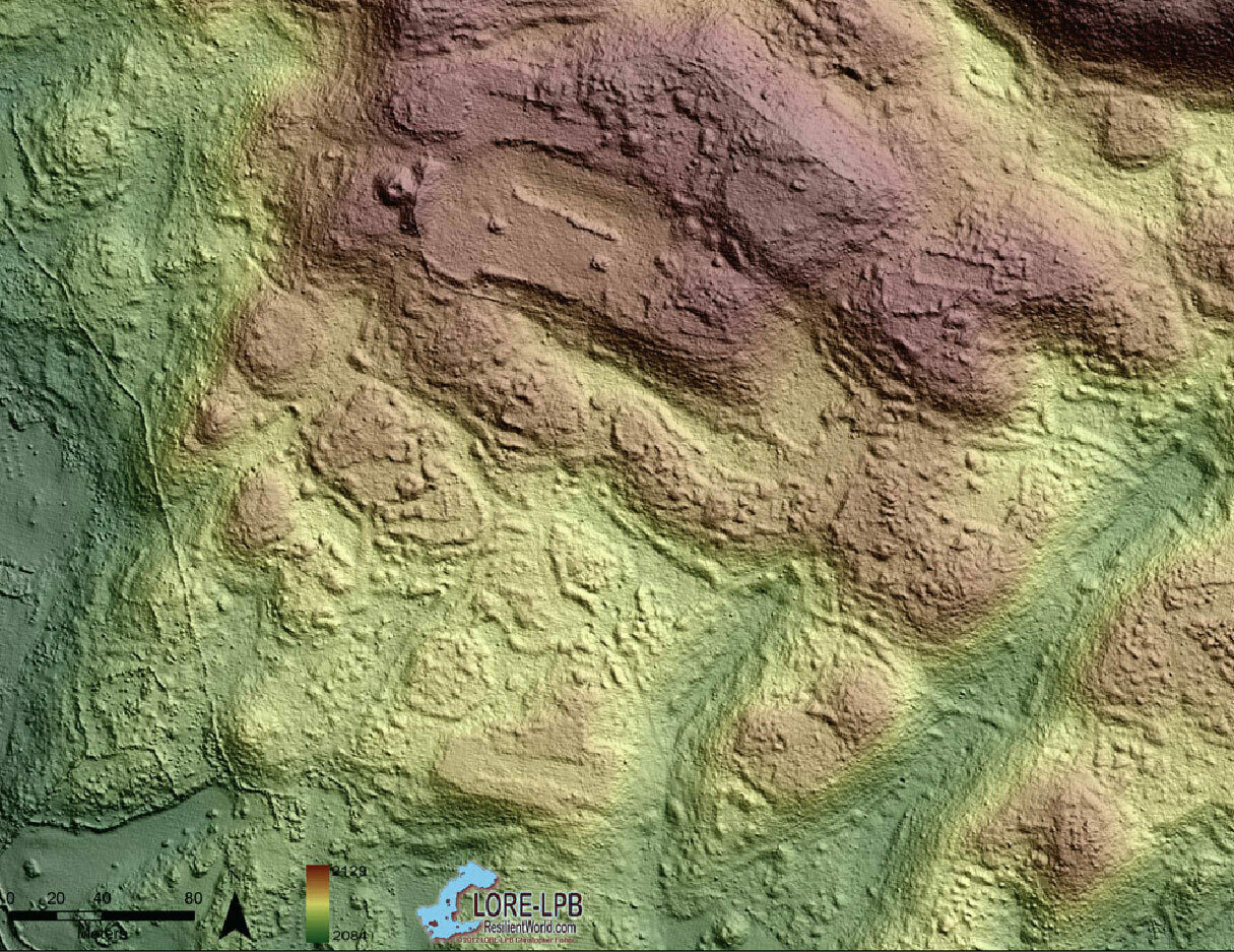 The ancient settlement of Angamuco in Mexico as visualized by lidar, which reveals topography and ruins (at top) obscured by the dense jungle.