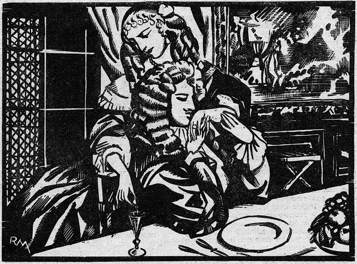 French noblewoman Marie-Madeleine-Marguerite d'Aubray, marquise de Brinvilliers, pouring poison into the glass of one of her victims, seen here in an engraving reproduced in the French newspaper <em>Le Petit Journal Illustré</em> in 1931.