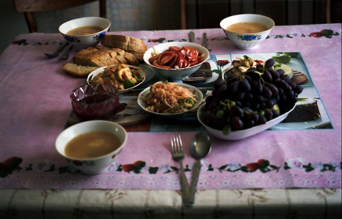 Koryo Saram meal, photographed in Ushtobe, Kazakhstan.
