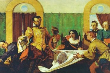 In <em>The Taming of the Shrew</em>, Petruchio sends plates flying at dinner.