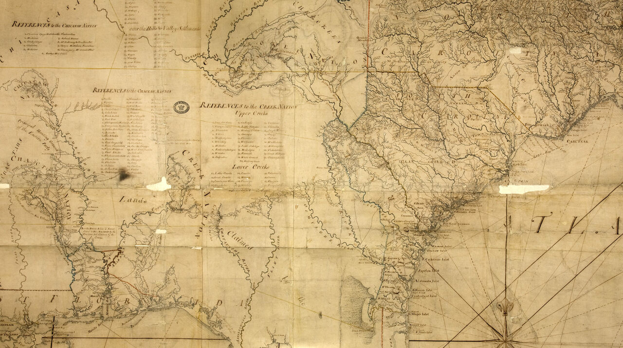 "Over time, the boundaries agreed to in the 1760s were renegotiated, as shown on this map of the ""Southern Indian District of North America,"" 1775."