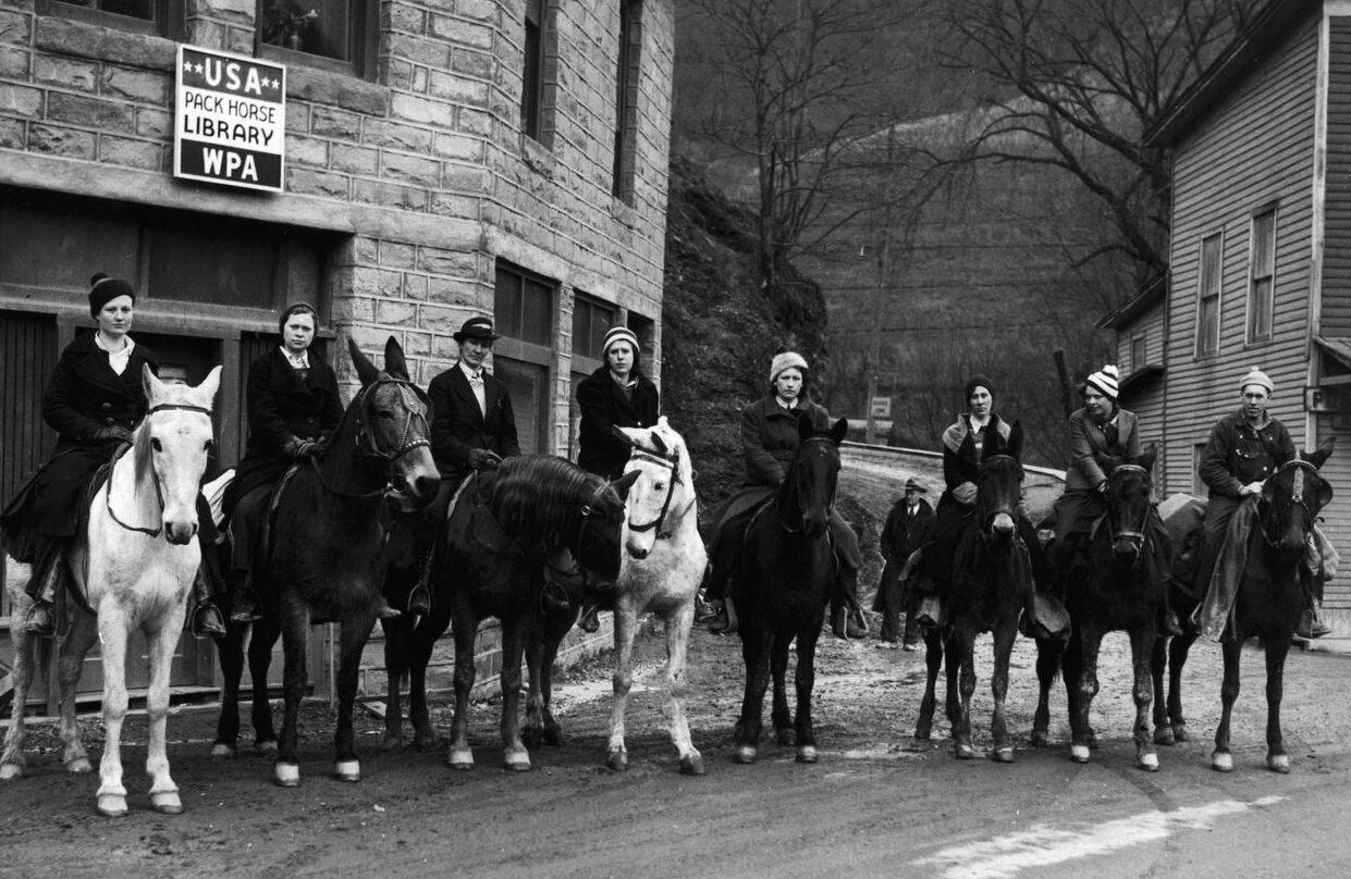 "A group of ""book women"" on horseback in Hindman, Kentucky, 1940."