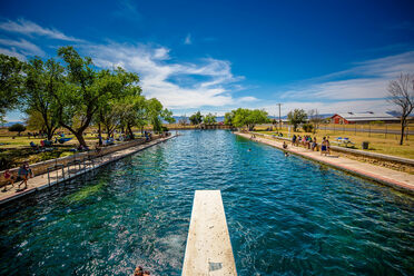 A view of the Balmorhea pool from the diving board.
