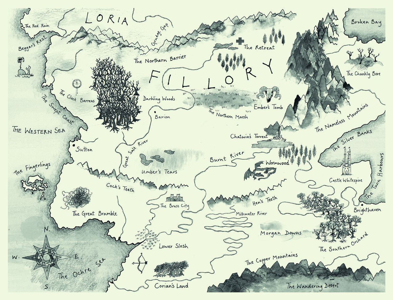 Map by Roland Chambers for <em>The Magicians</em>, by Lev Grossman.