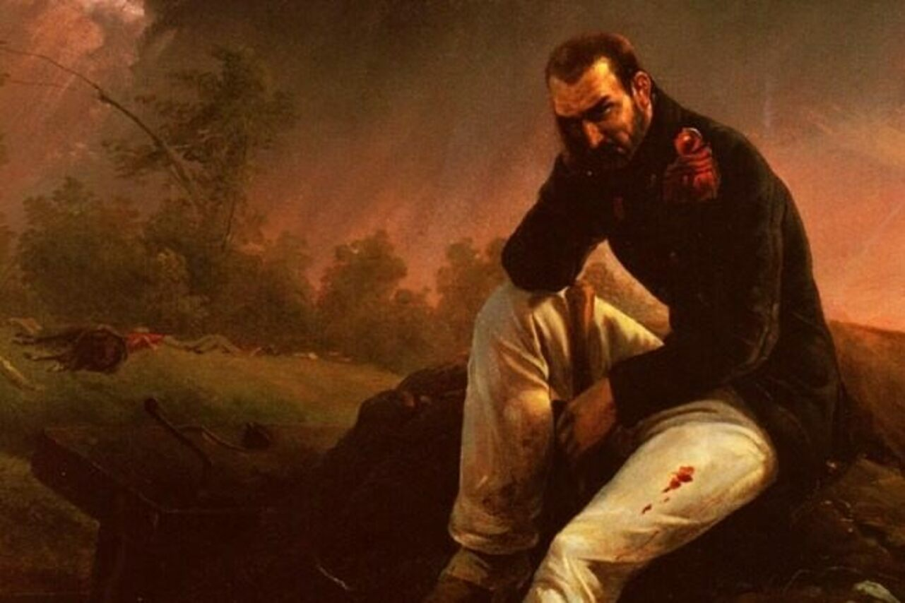 Horace Vernet's <em>The Last Grenadier of Waterloo</em>, contemplating his plight.