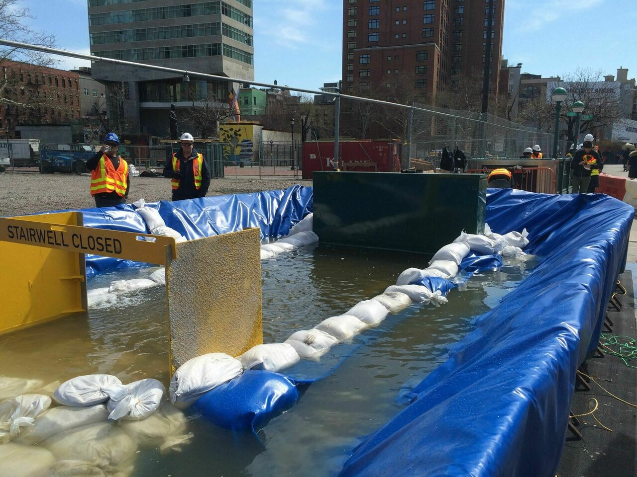 The flex gates to protect subway stations are tested with lots of water.