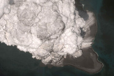 The eruption of Bogoslof, in a satellite image. The ash plume rose 40,000 feet above sea level.