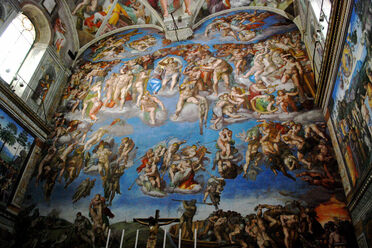 "The concert took place in front of Michelangelo's ""The Last Judgment."""