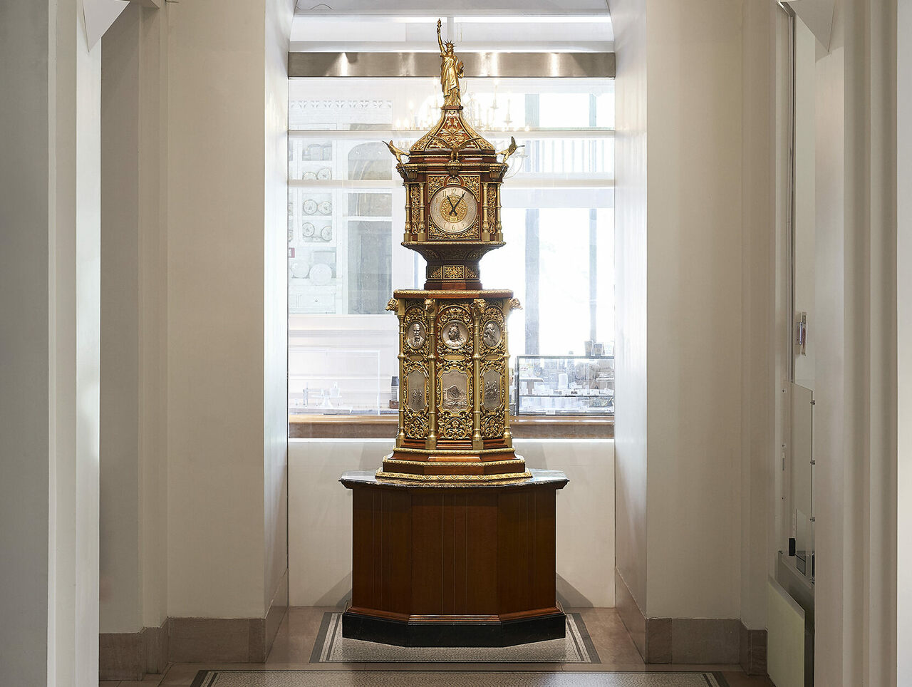 The restored clock is currently on display at the New-York Historical Society. It will reclaim its place in the lobby of the Waldorf Astoria when renovations on the hotel are complete.