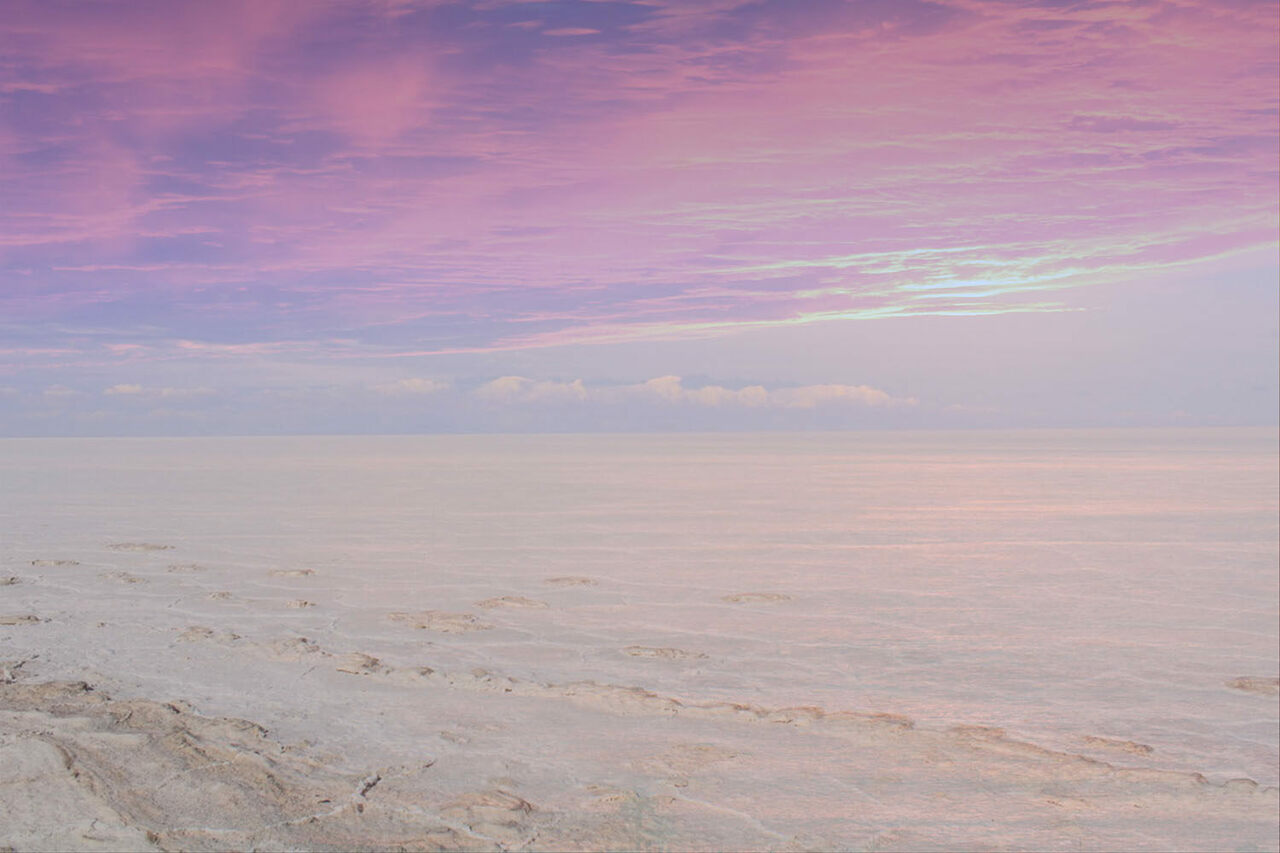 <em>Mysteries of Love and Space II</em>, one of Navina Khatib's layered photos of Bolivian salt flats.