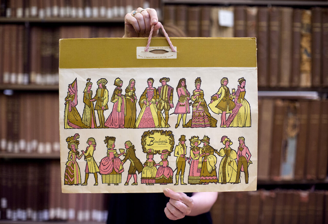 A bag from Bamberger's department store, mid 20th century.