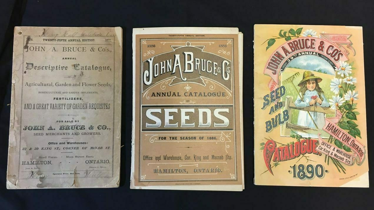 Samples of John A. Bruce seed catalogs from the 1870s, 1880s, and 1890s.