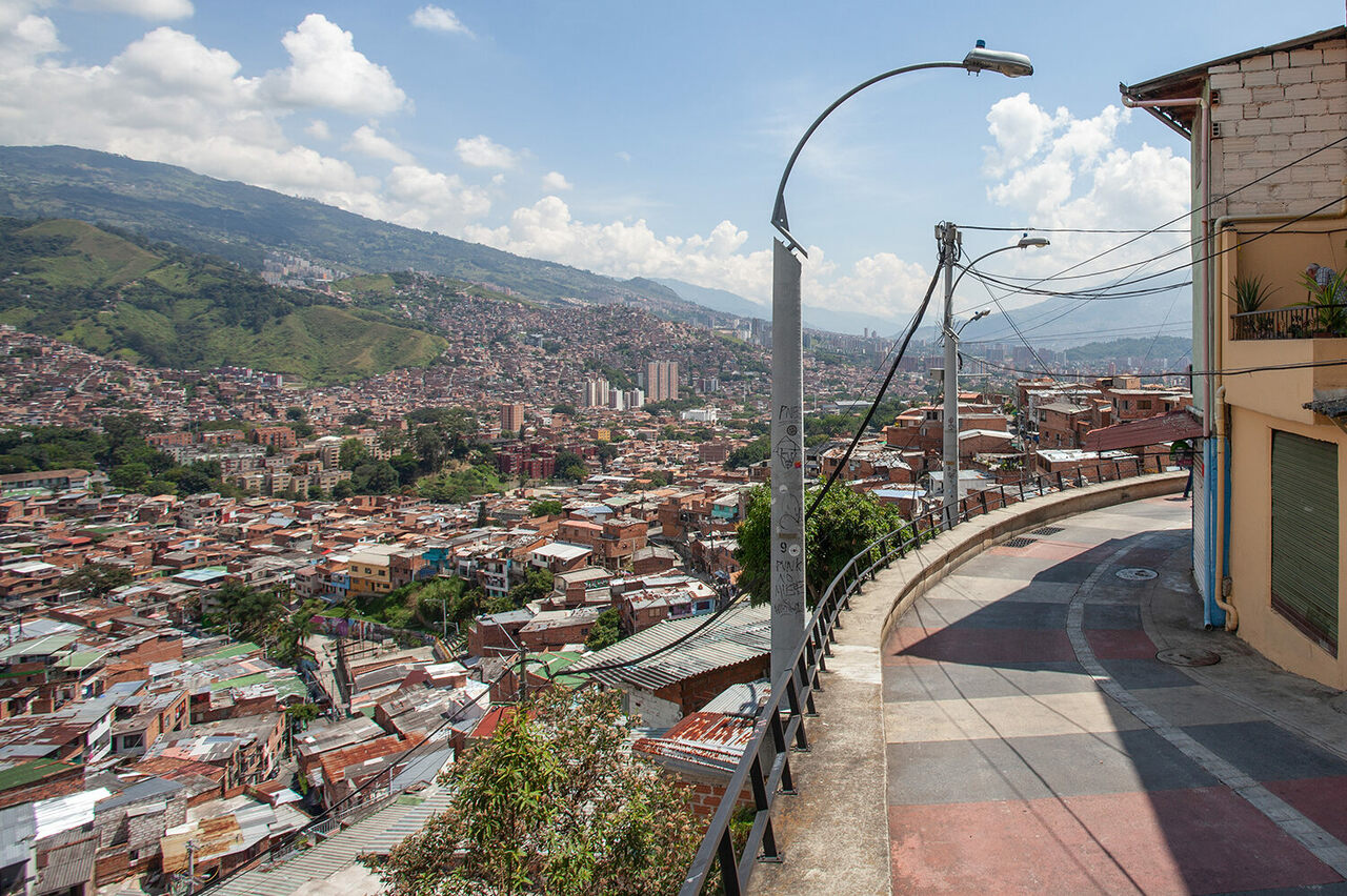 A view of Medellín, Colombia, from a landing on the public escalator that climbs into the Comuna 13 neighborhood.