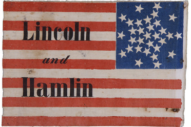 "Abraham Lincoln campaign flag, 1860. ""Until the design of the American flag was standardized in 1912, flagmakers enjoyed creating their own arrangements. This flag has an unusual ""Great Star"" pattern, a star formed from individual stars."""