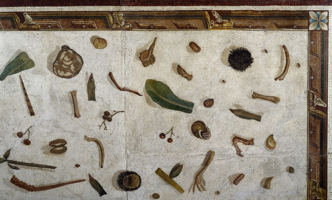 "A close up of the Profane Museum's ""unswept room"" mosaic in the Vatican."