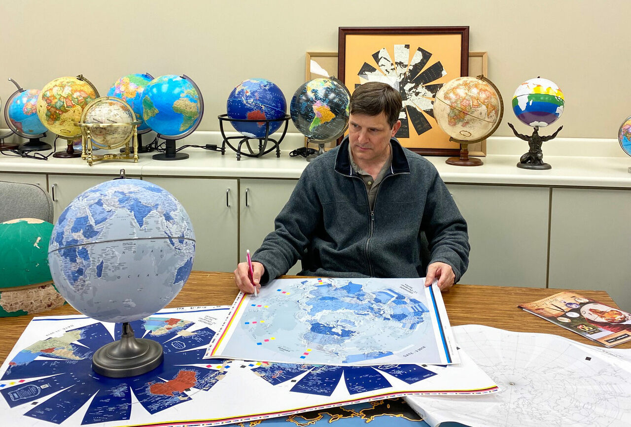Kevin Dzurny, chief cartographer at Replogle Globes, has to keep things up to date—and keep certain countries happy.