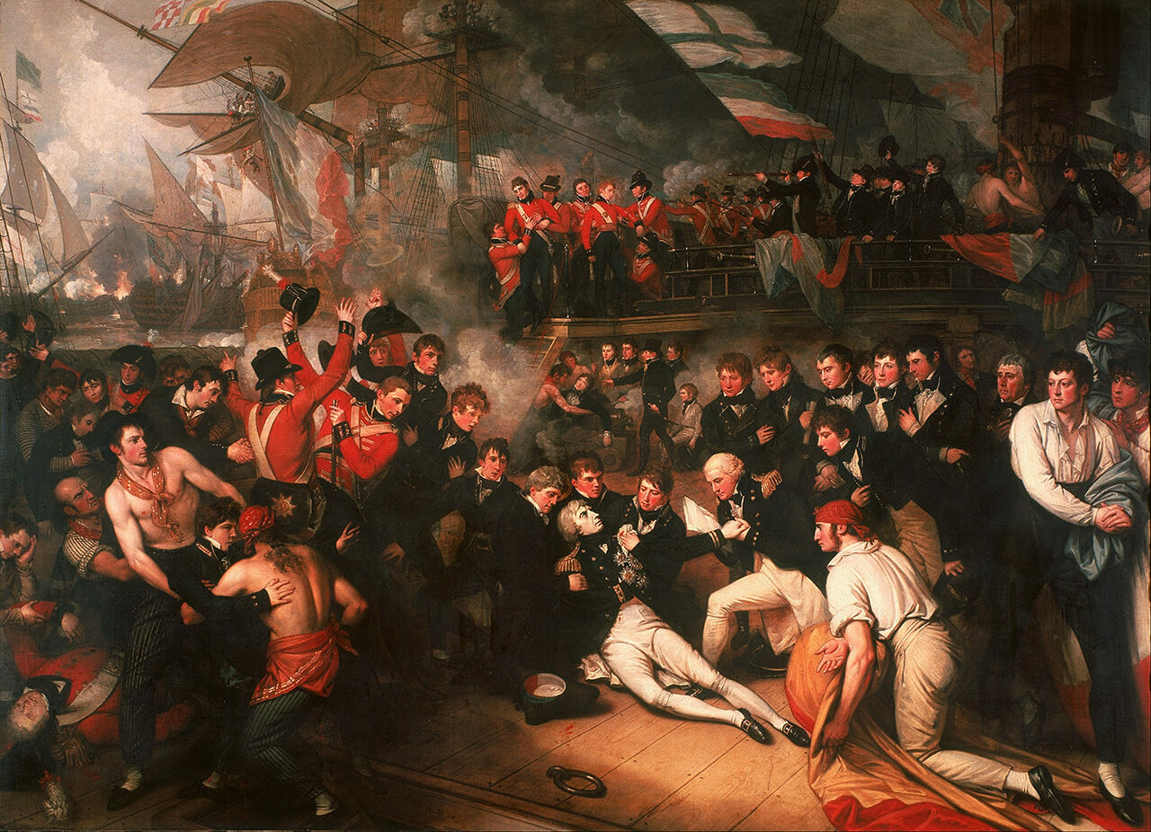 A depiction of Admiral Nelson's death, by Benjamin West.